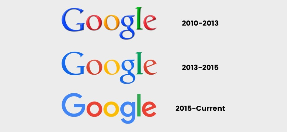 Google logos starting from 2010 to current