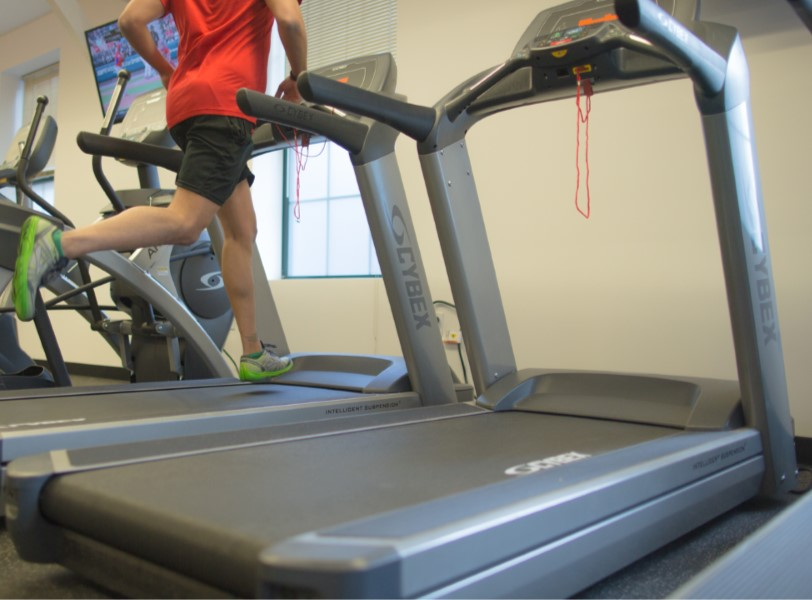 Person running on a treadmill